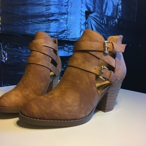 brown heeled booties